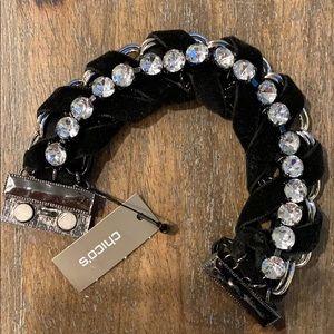 Chico's black velvet rhinestone silver bracelet